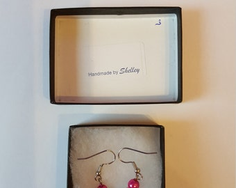Stirling Silver Earrings with Cerise Pink and Baby Blue Bead