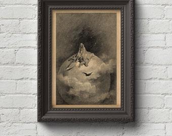 The Raven - Gustave Dore Print, Edgar Allan Poe, Wall Art, Art, Woodcut, Engraving, Dante, Dore, Inferno, Paradise Lost, Cute Gift