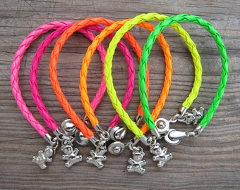 Set of bright bracelets, braided leatherette, 6 leatherette bracelets, girly bracelets with charms