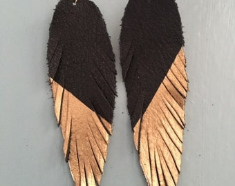 Large Leather Feather Earrings, Black and Gold