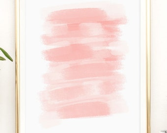 Blushing coral modern art Printable artwork print by PrintableHappies / 8x10 / 5x7 / 4x6 / instant download / brush strokes / brushed