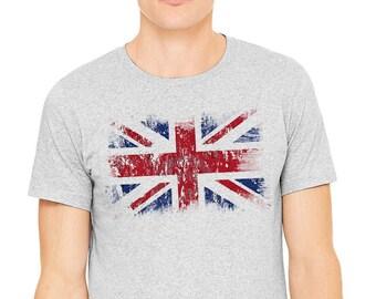 UK flag T-shirt, Gray T-shirt,Men's t-shirt, Britain flag shirt, UK shirt