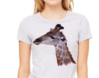 Giraffe polygon image  printed on a heather gray t-shirt, women's t-shirt, gray tee
