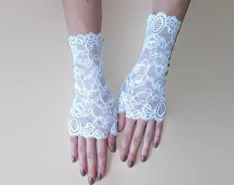 White Fingerless Gloves\Lace gloves\ Fingerless Lace Gloves\White gloves\ Bridal gloves