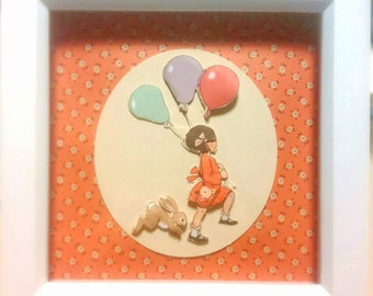 Belle and Boo 3D  Framed Decoupage