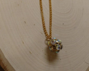 Gold Necklace with Bling Pendant