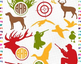 Hunting SVG - Silhouette - Gun SIlhouette - Hunting Monogram Frame - SVG dxf EPS Cutting file - Deer Hunt Svg - Cameo - Cricut Design - deer