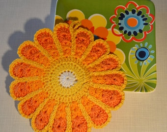 Colorful Flower Crocheted Pot Holder/ Hot Pad *Laura*