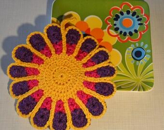 Colorful Flower Crocheted Pot Holder/ Hot Pad *Vanessa*