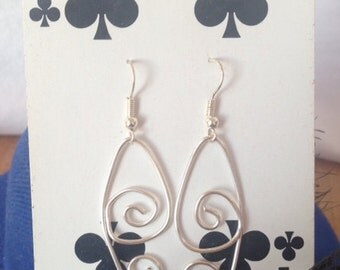 Wire Design Earrings, Abstract Earrings, Silver Wire Earrings, Unique Earrings, Silver Swirl Earrings