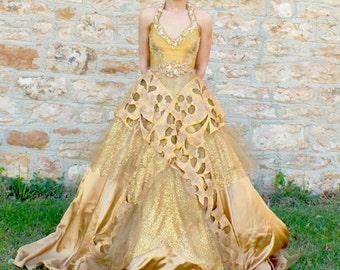 Gold wedding dress etsy unique wedding dress gold wedding dress unique dress long wedding dress handmade junglespirit Gallery