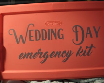Wedding Day Emergency Kit Decal   Bridal Emergency Kit Sticker   Wedding Day Survival Kit