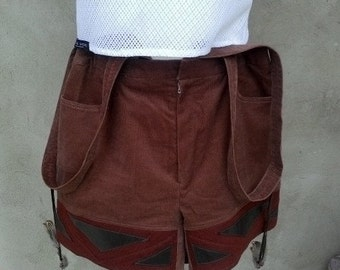 Shorts with carriers, bib shorts, Brown, size 36
