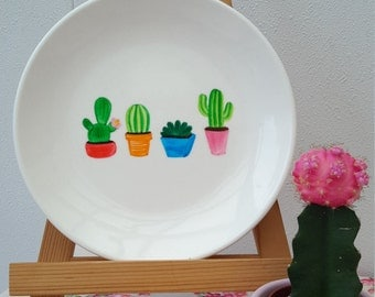 Breakfast plate with cactus print