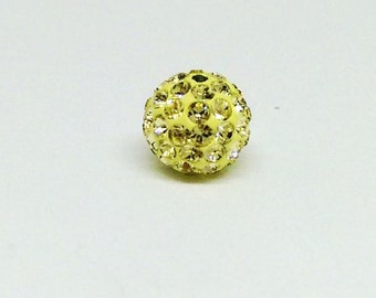 6mm Swarovski Round Bead, Jonquil and Yellow Pave Ball, Rhinestone Bead, Spacer Beads, Large Loose Beads, Sparkly Beads, Shamballa,YC4985A