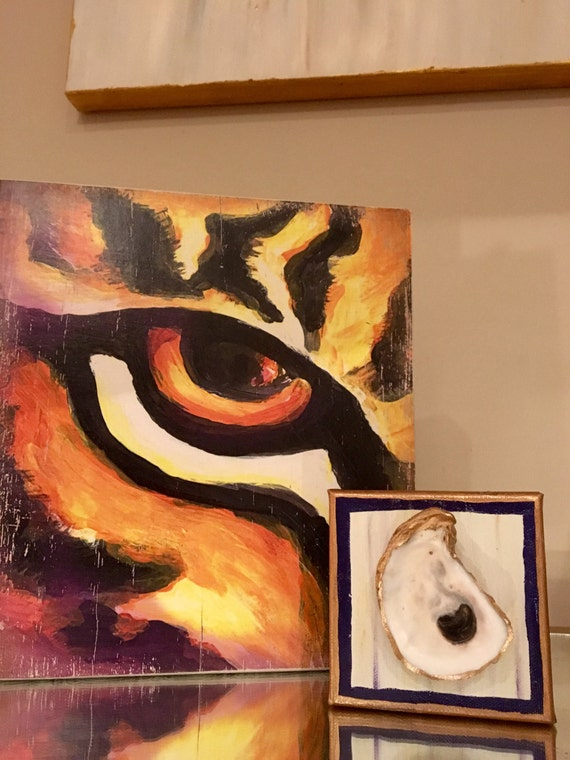 Purple Gold Painted Oyster on Canvas