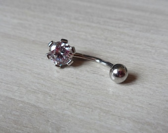 Sterling Silver Belly Button Ring, Sparkle Navel Ring, Flower Navel Piercing, Navel Ring, Body Jewelry, Simple Belly Ring, Belly Piercing