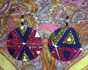 Tribal Print Pyramid Earrings