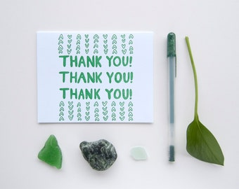 Thank You – Pattern – Letterpress Greeting Card in Green Ink on 100% Cotton Paper, Hand-Illustrated