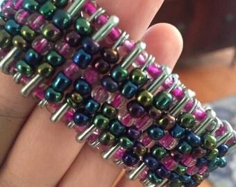 Pink/Blue Safety Pin Bracelet