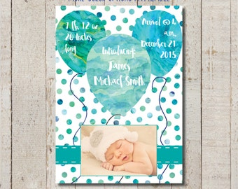 Watercolor Balloon Birth Announcement - Customized printable