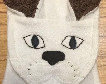 Cat Towel Original Linda's Critters white cat  on  brown terry towel