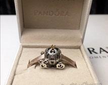 Authentic PANDORA Disney Charm Cinderella's Pumpkin Carriage Coach 14K Gold With Original Box