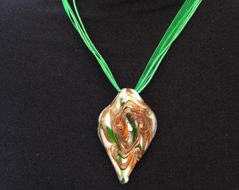 White, Green & Gold Murano Glass Pendant Neckalce