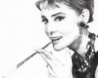 Audrey Hepburn Pencil Portrait (Signed A4 Print)