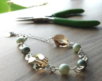 Classic Bracelet with Swarovski Golden Shadow Crystal & Swarovski Pearls
