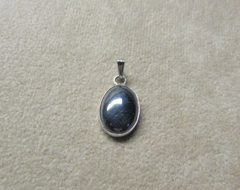Beautiful HEMATITE STERLING silver pendant.