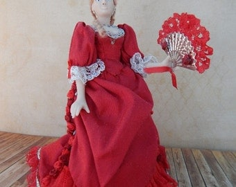 Hand Made 1/12th scale Victorian Lady in a OOAK Cherry red Bustle Gown