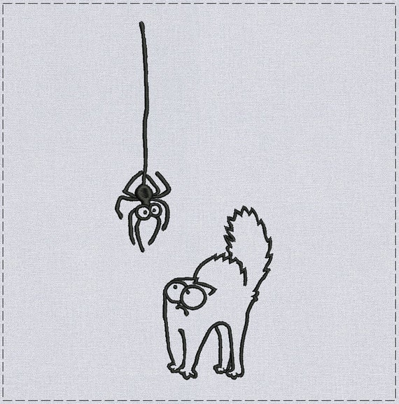 Simon's Cat and Spider - Machine embroidery design or Custom digitizing from you image Simon's Cat