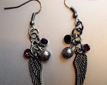 Silver Pearl with Purple Drop Feather Earrings