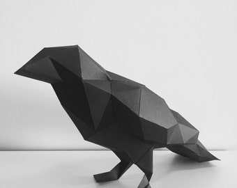 Pre-cut and Pre-scored Raven Kit - Low Poly Animal