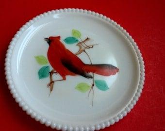 Hand painted cardinal milk glass plate, Westmoreland milk glass, milk glass plate with beaded edge  -B4