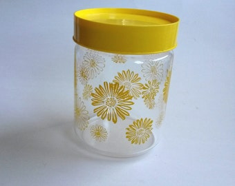Yellow daisy glass canister, corning glass canister, daisy kitchen decor, glass jar storage