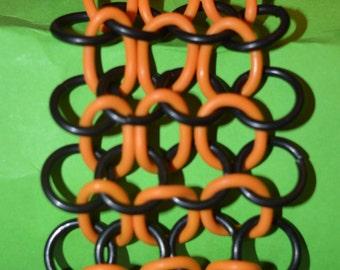 European 4-in-1 Stainless Steel & Orange o-rings Chainmaille Strechy Bracelet