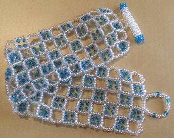 Glass Bead Checkered Clear and Sky Blue Bracelet - Handmade