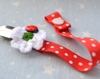 Red Chupetero with flower and ladybug, secure hold for baby, chupetero baby pacifier clip pacifier, baby shower gift, baby gift