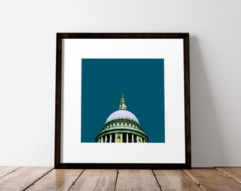 Square Print, St Pauls Cathedral, London Skyline, City Wall Art, London Art, London Print, Blue Art Print, Quirky Art Print, Office Wall Art