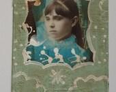 "beautiful dreamer-altered cabinet card, primitive folk art/outsider art, 4-1/4"" x 6-1/2"""