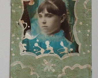 "beautiful dreamer-altered cabinet card, primitive folk art/outsider art, 4-1/4"" x 6-1/2"""
