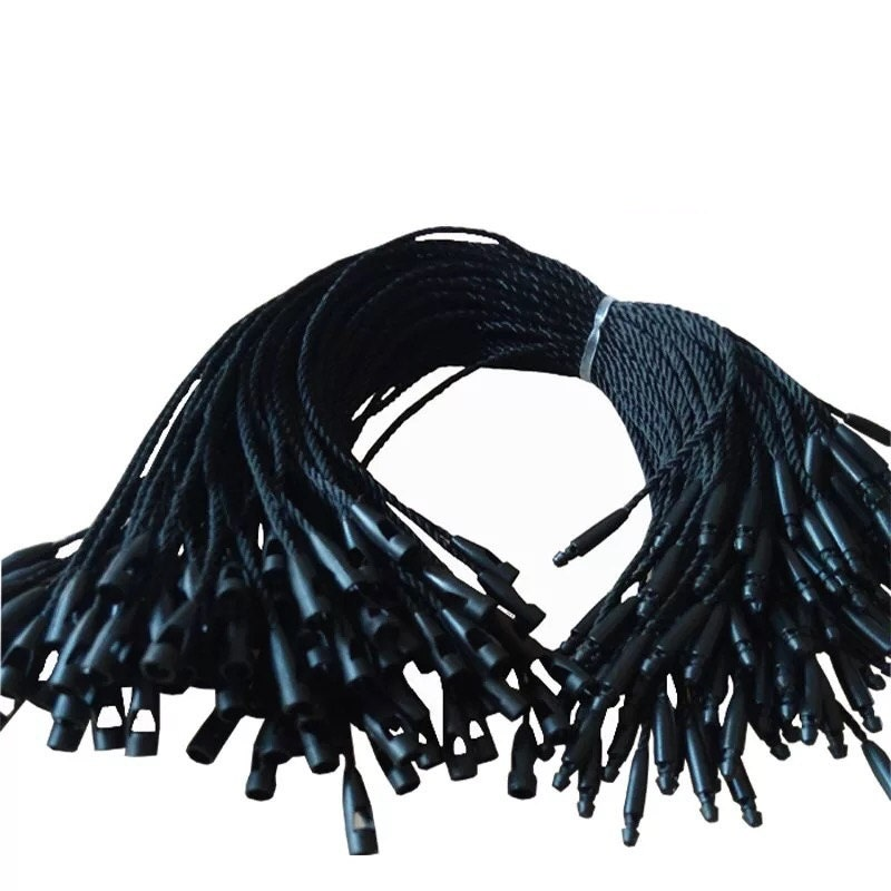 100pcs polyester black white hang tag string bullet head for Locker loop dress shirt