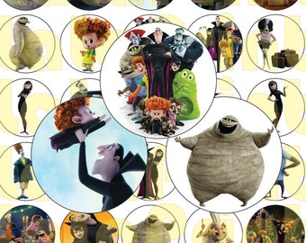 30  Hotel Transylvania Digital Party Stickers Circles size 1'' sheet A4 (8.5''x11'') Bottle Cap images Cupcake Toppers Disney