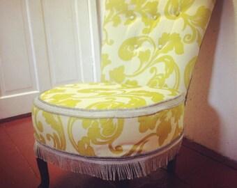 Unique freshly reupholstered 70's retro boudoir/nursing chair