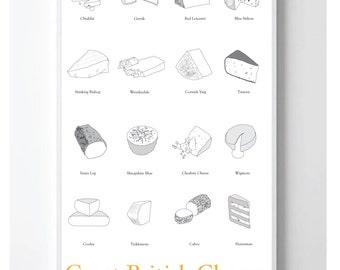 British Cheese Poster Print- Office, Birthday, Anniversary
