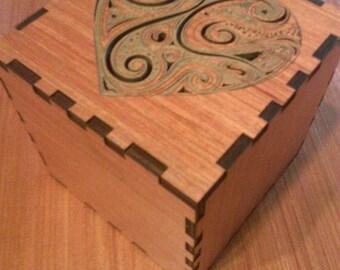 4.5 x 4.5 Laser Cut Wooden Box