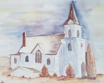 Original Watercolor Church Southwest Signed JP