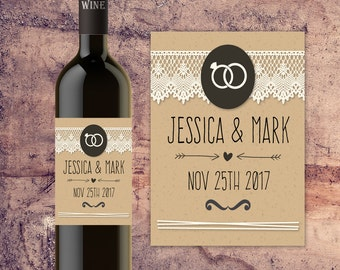 PERSONALIZED WEDDING TABLE Decor Decorations,  Custom Wine Bottle Label for Wedding Tables, Bride and Groom Wedding Wine Bottle Label